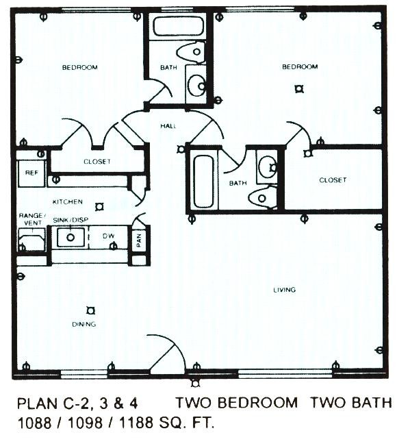 1,088 sq. ft. floor plan
