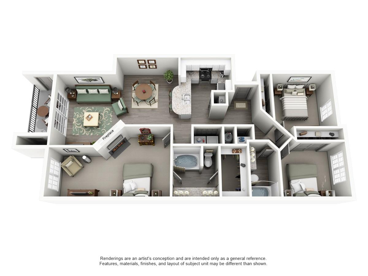 1,272 sq. ft. MESA floor plan