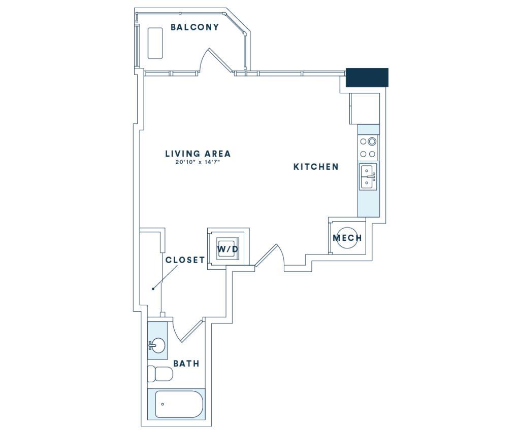 535 sq. ft. S1 floor plan