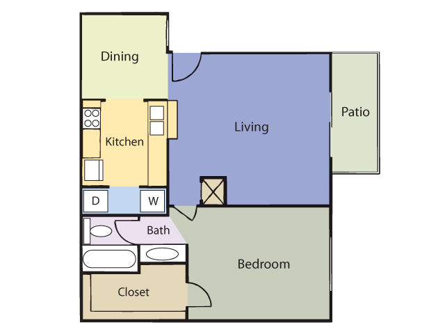665 sq. ft. Daisy floor plan