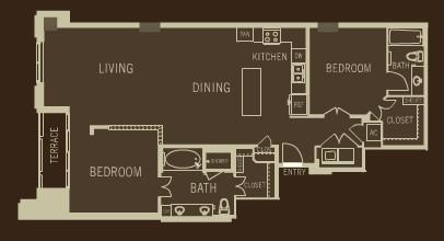 1,409 sq. ft. B1 floor plan