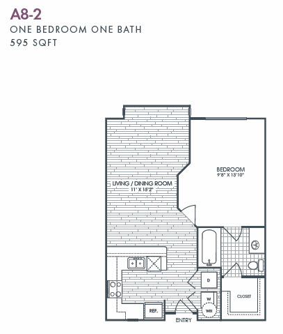 595 sq. ft. A8-2 floor plan