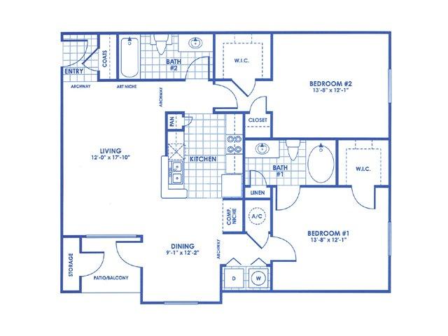 1,143 sq. ft. Dickinson floor plan
