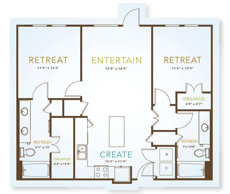 1,028 sq. ft. to 1,100 sq. ft. B1 floor plan