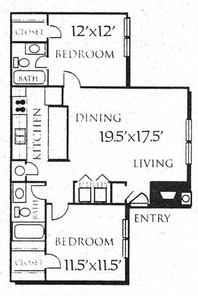 936 sq. ft. B2 floor plan
