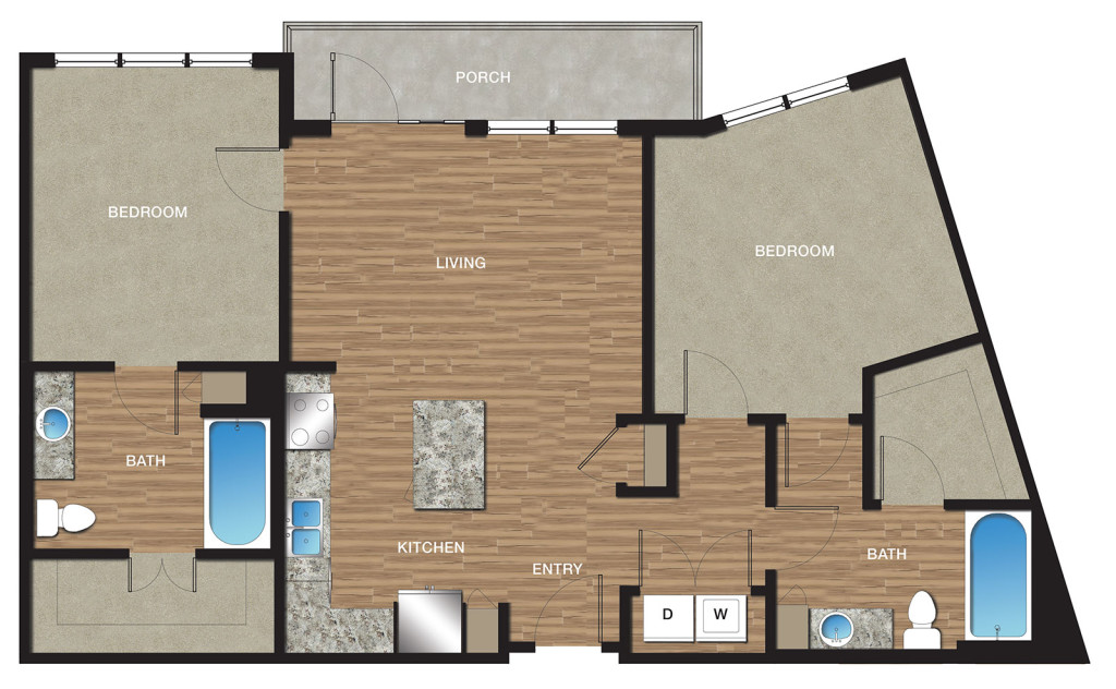 1,107 sq. ft. B5 floor plan