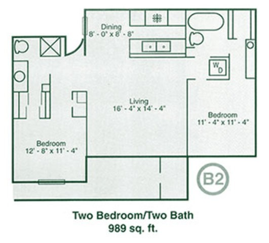 989 sq. ft. floor plan