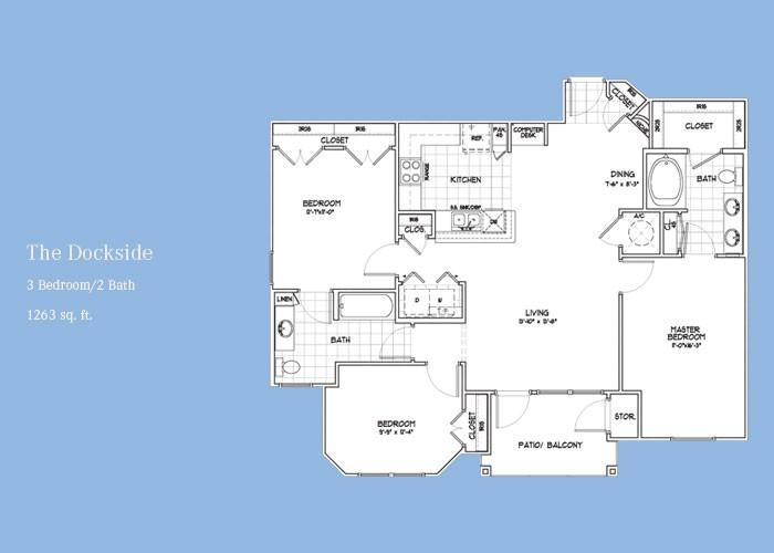 1,263 sq. ft. Dockside floor plan