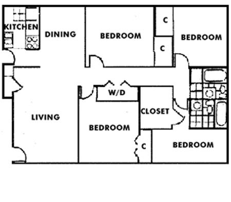 1,373 sq. ft. D1 floor plan