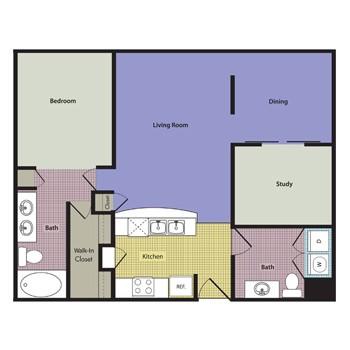 1,049 sq. ft. to 1,149 sq. ft. Lombardi floor plan