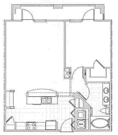 812 sq. ft. MARBELLA floor plan