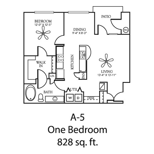 828 sq. ft. A5 floor plan
