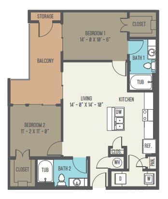 1,016 sq. ft. B1 floor plan