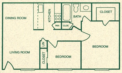 800 sq. ft. B floor plan