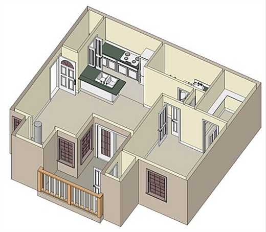 646 sq. ft. A3 floor plan