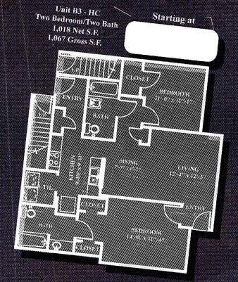 1,018 sq. ft. to 1,067 sq. ft. B3HC/60% floor plan