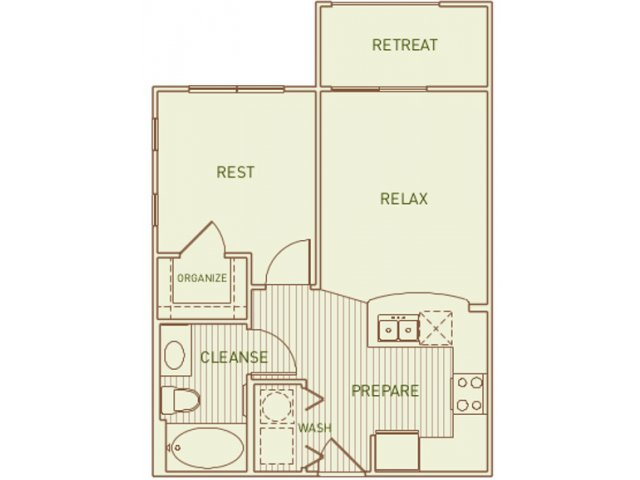 525 sq. ft. Scarlet floor plan