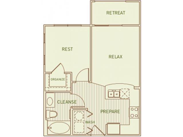 525 sq. ft. Scarlet floor plan