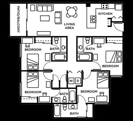 1,421 sq. ft. 4Bed 4Bath floor plan