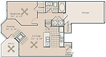 841 sq. ft. Chaplin floor plan