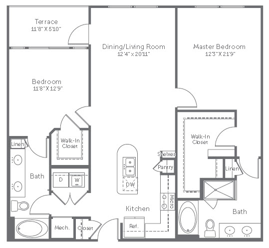 1,216 sq. ft. B7 floor plan