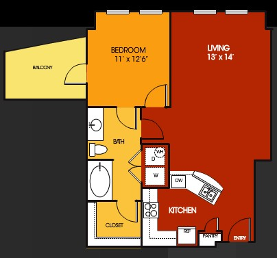 814 sq. ft. El Paso floor plan