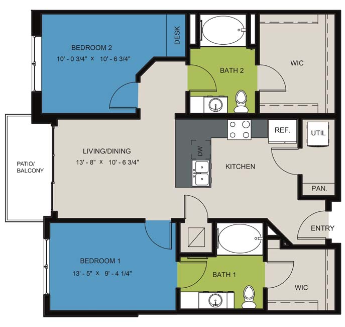 1,006 sq. ft. B6B floor plan