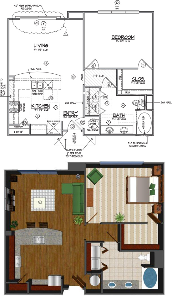 840 sq. ft. Cb floor plan