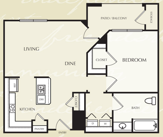 727 sq. ft. A2/50% floor plan