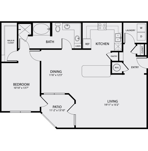 1,143 sq. ft. A5 floor plan