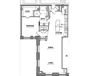 1,255 sq. ft. Unit 13 floor plan