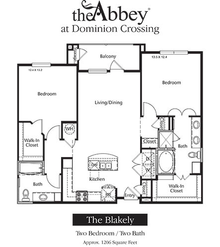 1,206 sq. ft. Blakely floor plan