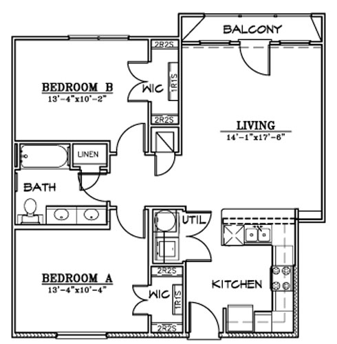 902 sq. ft. B5 floor plan
