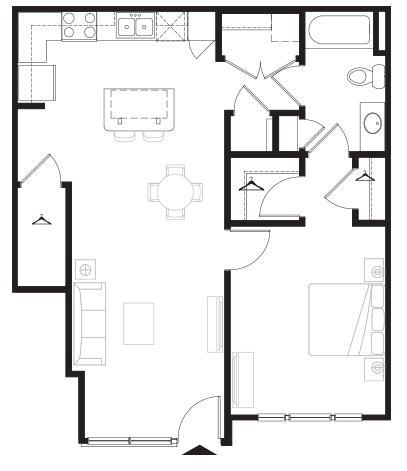 760 sq. ft. Courtyard floor plan