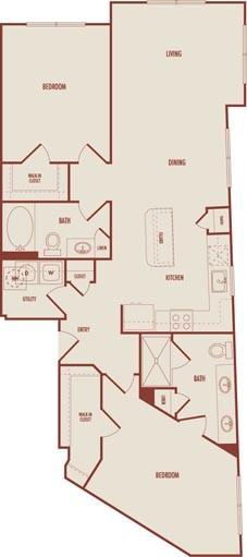 1,176 sq. ft. C4 floor plan