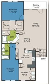 1,414 sq. ft. B4 floor plan