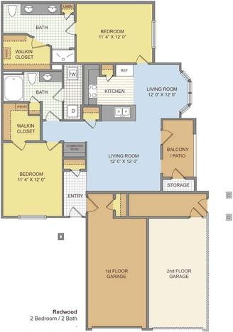 1,125 sq. ft. Redwood/Garage floor plan