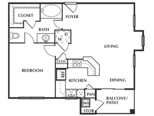 706 sq. ft. A floor plan