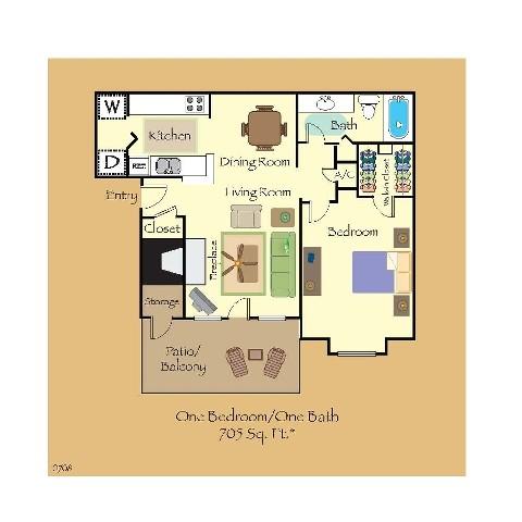 705 sq. ft. A1 floor plan