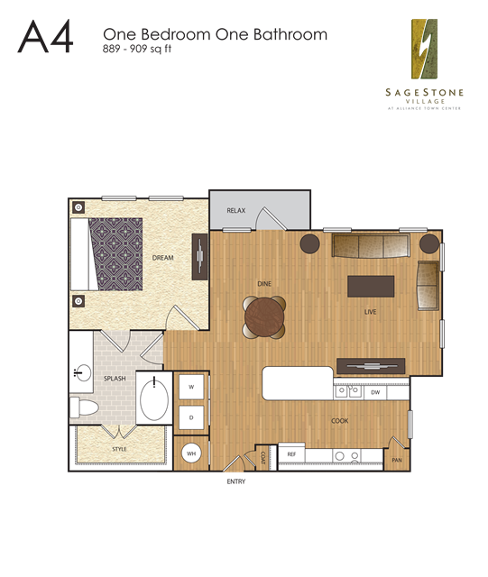909 sq. ft. A4 floor plan