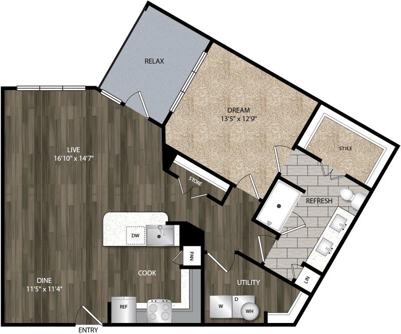 967 sq. ft. A6 floor plan