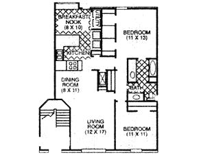 866 sq. ft. B floor plan