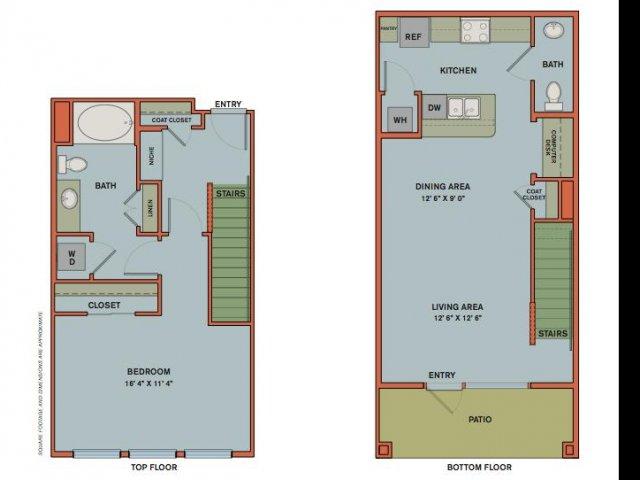 1,006 sq. ft. A13/A1 floor plan