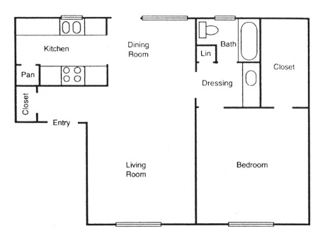 795 sq. ft. Pine floor plan