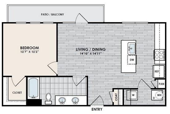 712 sq. ft. A4 floor plan