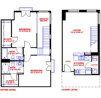 1,160 sq. ft. to 1,370 sq. ft. T2C floor plan