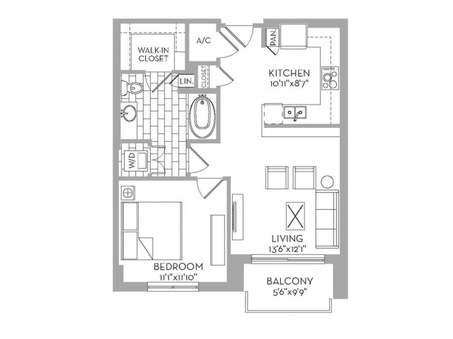 721 sq. ft. Royal(A.3) floor plan