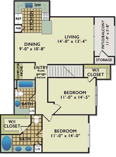 1,135 sq. ft. C2G floor plan