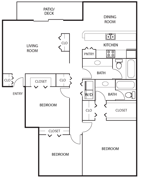 1,490 sq. ft. C1 floor plan