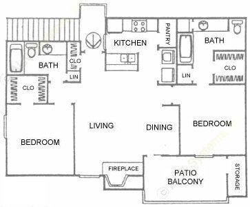 917 sq. ft. B2 floor plan